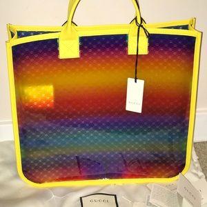 Authentic Gucci vinyl rainbow gg travel tote purse